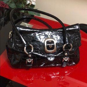 Stuart Weitzman black crocodile handbag purse